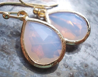 White earrings Gold earrings White opal earrings Drop earrings Small dangle earring Dainty earring Gold white opal earrings, gift for her