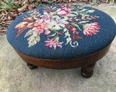Vintage Small Blue Oval Needlepoint Flowers Floral Wooden Stool