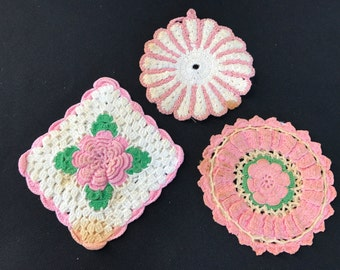 Trio of Vintage Hand Crochet Pink and White Potholders