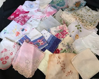 Lot of 27 Vintage Cutter Ladies' Hankies/Handkerchiefs for Repurposing