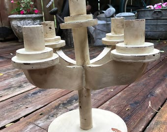 Vintage Chippy Creamy White Paint Distressed Look Oak Candleholder