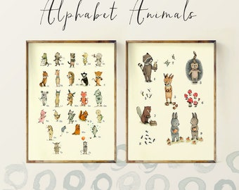 Children's Wall Art Print, Animals Numbers and ABC, Alphabet Poster Set - Nursery art for children