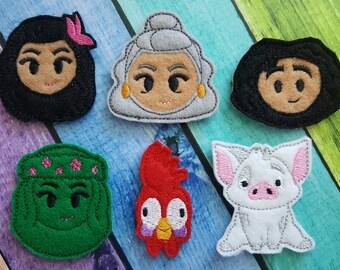 Polynesian Duo Felties * Pig, Island Goddess, Chicken, Polynesian Beauty, Grandma * Felt Embellishments * Felt Applique * Hair Bow Supplies