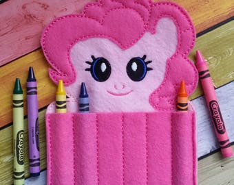 Pink Pony Felt Crayon Holder * Crayon Holder * Coloring * Party Favor * Pink Pony Crayon Holder