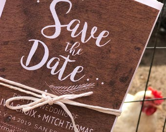 Rustic Save the date - PRINTABLE Save the Date - Wood Save The Date - engagement cards - rustic wedding invitations - weddings