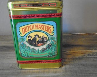 Dutch Masters tin /  25 Presidents tin / vintage cigar tin / square canister in blues and greens