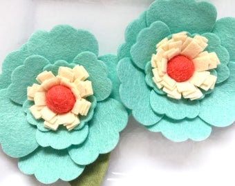 Wool felt flower Mint and Coral Large Felt Flowers - Set of Two