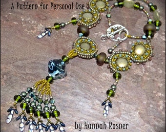 NEWLY UPDATED! Bead Pattern - Arabesque Necklace tutorial instructions - Herringbone by Hannah Rosner for personal use only