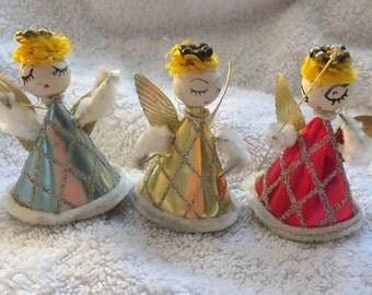 Vintage angels, foil body spun cotton head