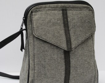 SMALL SHOULDER BAG  Waxed Denim Grey on Gray with Leather