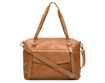 Large Pocket Shopper Tote Purse, Tan