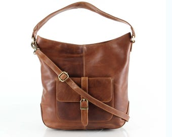 Leather Hobo Purse with Pocket, Tan