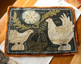 Primitive Rabbit And Easter Eggs Rug Hooking Pattern On