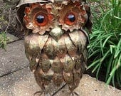 RESERVED for Sender: Frances Munder - Brutalist Copper Owl Sculpture
