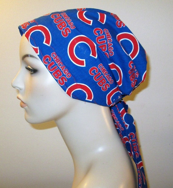 Chicago Cubs  Chemo Hat, Cancer Scarf, Surgical Scrub Hat, Turban, Hair Loss Free Ship USA