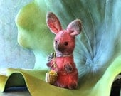 Jelly Bean A OOAK Mohair Stuffed Easter Bunny Pink SALE