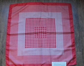 Ho Ho Holiday SALE Vintage brick red and cream color silk 26 inch square scarf, Design of various size squares, Made in Italy 1950s, Bonus m