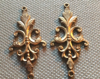 Vintage Brass Earring Findings(2)(40x18mm) Necklace Connectors