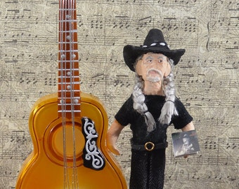 Willie Nelson Country Music Art Doll Miniature Guitar Diorama Fan Art Collectible Singing Star