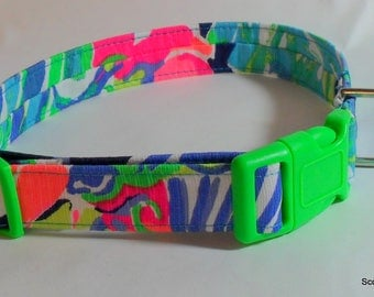 Handcrafted Lilly Pulitzer Dog Collar-Multi Purrfect Print 2017 - All Sizes- Free Shipping- Made in USA