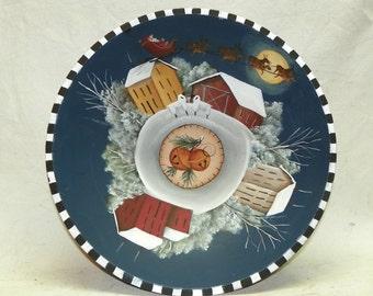Lg Wood Bowl, Christmas Bowl, Hand Painted Bowl, Folk Art Santa and Sleigh, Sleigh and Reindeer, Christmas Centerpiece, One of a Kind