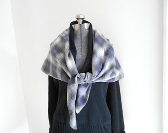 SALE Plaid blanket scarf, dusty amethyst olive grey - eco vintage fabrics