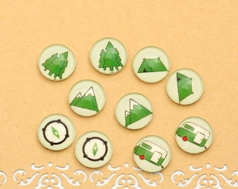 10pcs handmade assorted Outdoor Adventure round clear glass dome cabochons / Wooden earring stud 12mm (12-0677)
