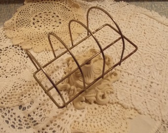 SHABBY Charming White Letter Holder Iron Metal Home Office Supply Vintage Charm