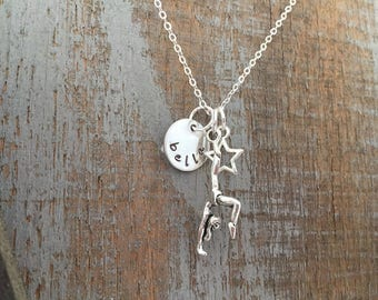 Gymnast charm Stamped Necklace