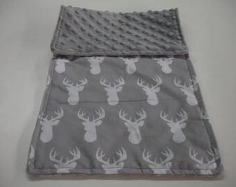 Gray Deer Head with Gray Minky Burp Cloth 9 X 20 READY TO SHIP