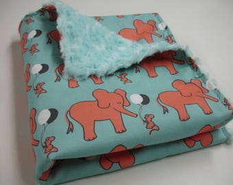 Elephant and Mouse Let's Be Friends in Coral Aqua and Black Minky Lovey 19 x 34 READY TO SHIP