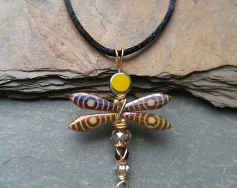 Glass Dragonfly Pendant Necklace in Purple and Gold