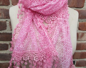 Candy Pink scarf Fringed Lace Boho Chic neck Wrap Spring Summer Flower Bohemian sheer Floral shawl Lightweight romantic Accessory Gift idea
