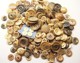 Vintage buttons, lot of buttons, vegetable ivory, antique buttons, almost 1/2 pound