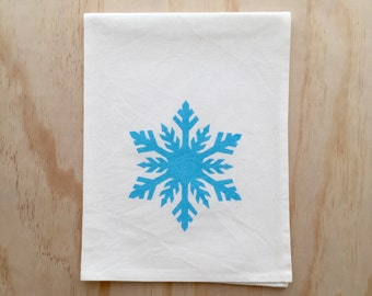Snow Flake in Aqua - Hand Screen Printed Tea Towel - Cotton