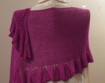 Brilliant Magenta Ruffled Silk/Wool Stole