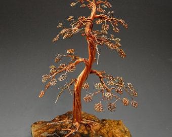 Bonsai Copper Wire Tree Art Sculpture  - 2 - FREE SHIPPING