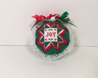 Handmade Quilted Cross Stitch Ornament