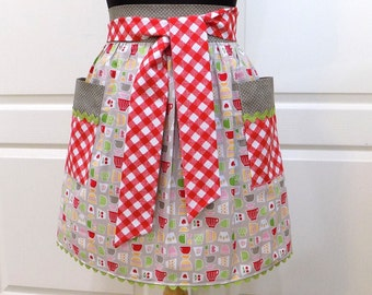 Womens Retro Half Apron Modern Chic Cute Kitchen Waist Aprons / Baking / Cooking