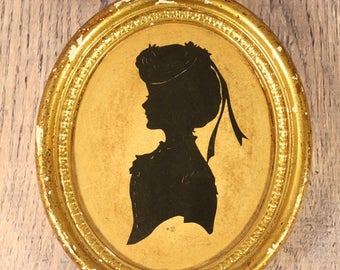 Silhouette on Plaster - Oval Framed - Black on Gold - Victorian - Signed SZL