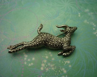 Vintage Impala Brooch - Vintage Brooch - Marcasite - Unique Gift - Mothers Day Gift - Marcasite Brooch - Gift for Her