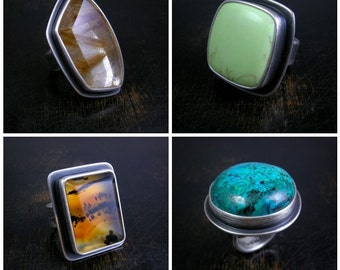 Pick a stone Earthling Ring. Made to order chunky sterling silver with deep patina.