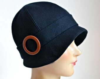 Black Wool Cloche - 1920s Cloche Hat - Women's Hat - READY TO SHIP via 3 Day Priority