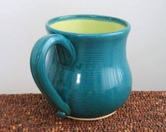 Pot Belly Mug, Pottery Coffee Mug, Hand Thrown Stoneware Ceramic Cup in Peacock and Lime 14 oz. Handmade Wheel Thrown Pottery