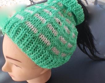 Messy bun hat, Ponytail hat, man bun hat, unisex hat, ear warmer, bright green and white knitted hat, neon green, ski hat, gift, popular hat