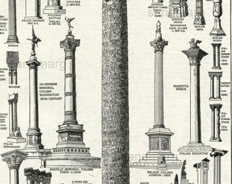 Architecture Chart Historical Development of the Column From BC to AD  to 1925