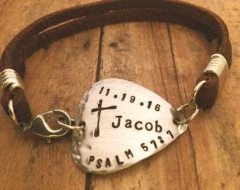 Guitar Pick Bracelet, Gift for Musician, Confirmation Bracelet, First Communion Bracelet, Baptism Bracelet, Cross Bracelet, Scripture Name