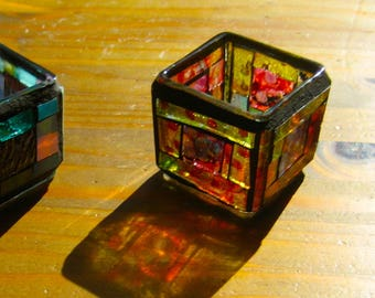Mosaic Tea Light Holder. Alcohol Ink Dyed. Two Inch Square Mosaic Tea Light Holder. Dyed with Alcohol Ink. Up Cycled Mosaic Holder. Mosaic
