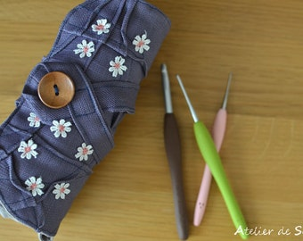Crochet Hook Case in Rich lavender hand dyed linen crochet hook organizer amour