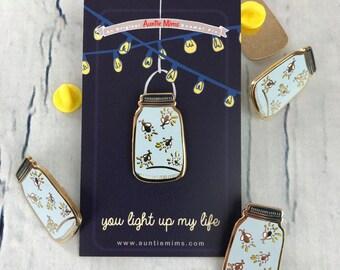 Firefly Enamel Pin - Jar full of Fireflies Hard Enamel Pin Badge - Enamel Pin - Gift for Her - Gift for Mum